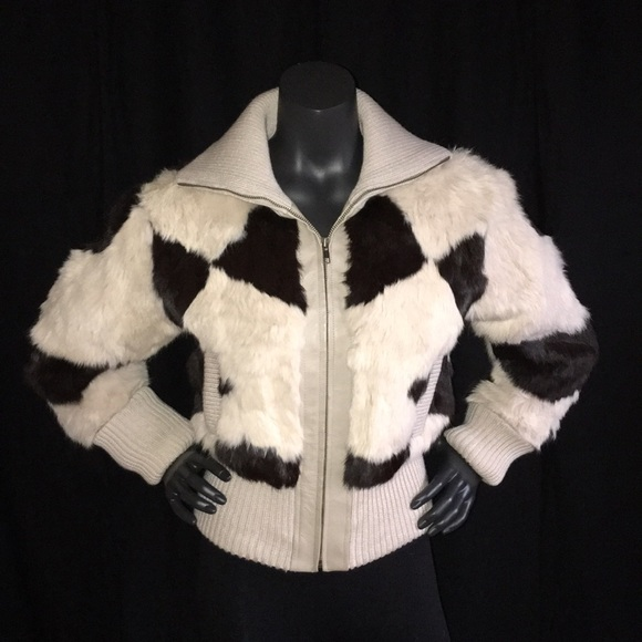Real Rabbit Fur Short Jacket Small by Xoxo